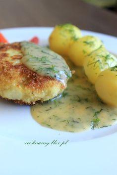 Propozycja na piątek: Pyszne kotleciki z kalafiora z sosem koperkowym...takie zwyczajne a takie pyszne :) Składniki: kalafior 2 jajka 4 łyżki bułki tartej + pół