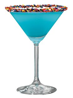 Sprinkle-tini---Looks like a birthday drink to me! 2oz Hpnotiq,1oz cake vodka, top with champagne or sprite for me-shake and serve in a martini glass rimmed with colored sprinkles! GIRL POWER!! Drinks-pinned by #conceptcandieinteiors #drinks #blue