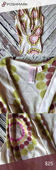 Sweet Pea by Stacy Frati top🌷 Retro pattern in greens and wines. Sweet Pea Tops