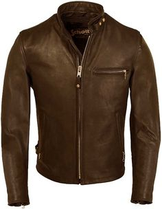 Schott 141 leather café jacket. Not sure if I should get it in brown or black...