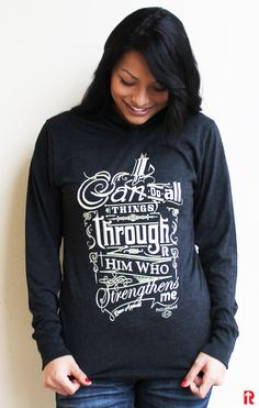 Philippians 4:13 Christian Hoodie.  I can do all things through him who strengthens me.