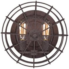 """Industrial Cage 14"""" Wide Dark Rust Wall Sconce"""