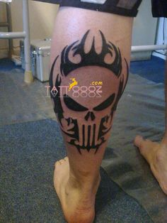 skull tattoos # tats # tattooing # scared tattoos # mostly made by black # brown colours of ink # made on leg # For more visit http://tattoooz.com