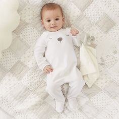 Velour Bear Sleepsuit | Newborn | Baby | The Little White Company | The White Company UK