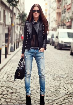 leather jacket with denim pants