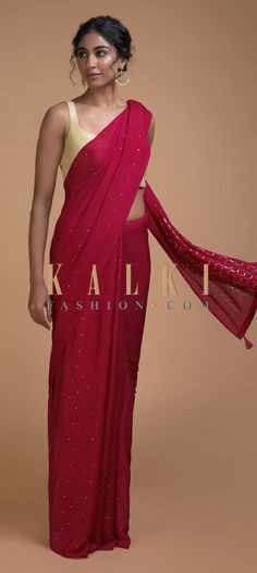 Buy Online from the link below. We ship worldwide (Free Shipping over US$100)  Click Anywhere to Tag Scarlet Red Saree In Chiffon With Badla Work All Over Online - Kalki Fashion Scarlet red saree in chiffon with badla work all over.Pallu enhanced with badla work in checks pattern and tassels on the border.