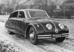 1934 Tatra T77, in an original factory publicity photo.