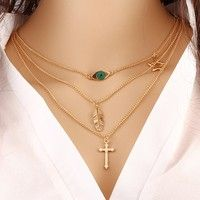 New Arrival Women's Fashion European Style Alloy Pendant Long Chain Bib Necklace Trendy Leaf Cross Gold Plated Chokers Necklaces for Women Multilayer DIY Charm Collar Friendship Party Birthday Gift for Girls Ladies Accessories Ornament Designer Jewelry Findings Neck Decoration Beauty Supplies