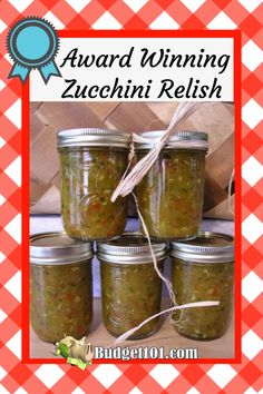 Award Winning Zucchini Relish - warning, you'll likely want to eat this by the spoonful straight from the jar! - This Delectable relish is the perfect way to enjoy zucchini all year long Zuchini Relish, Zucchini Relish Recipes, Canned Zucchini, Zucchini Zoodles, Zucchini Pickles, Squash Relish Recipe, Pickled Zucchini, Preserving Zucchini, Cucumber Relish Recipes