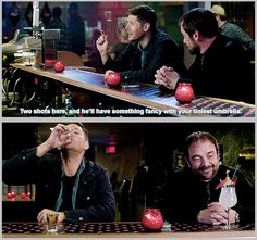 Crowley and his pitchfork drink Supernatural Destiel, Misha Collins, Jared Padalecki, Jensen Ackles, Impala 67, Fancy Drinks, Winchester Boys, Dean Winchester Imagines, Winchester Brothers