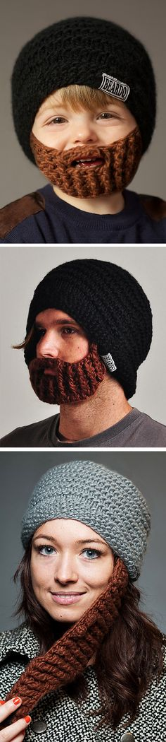 Landon might like, lol. Beardo // a beanie and beard combo . it's genius for keeping warm, and kinda weird, all in one! Just For Laughs, Just For Fun, Brown Beard, Weird And Wonderful, Keep Warm, Cool Kids, Crochet Hats, Make It Yourself, Cool Stuff