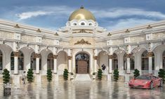 Al Hammam Villas Complex on Behance Classic House Exterior, Classic House Design, Modern Exterior House Designs, Bungalow Exterior, Dream House Exterior, Luxury Modern Homes, Luxury Homes Dream Houses, Ancient Greek Architecture, Modern Architecture House