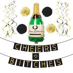 """Cheers Bitches"" Bachelorette Party Banner Set – Bachelorette Party Decorations, Favors, and Supplies Bachelorette Party Banners, Gold Banner, Photo Props, Wedding Decorations, Cheers, Ribbon, Letters, Party Ideas, Beautiful"