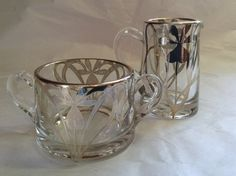 Depression Glass with Silver Overlay Creamer by antiquesonchurch