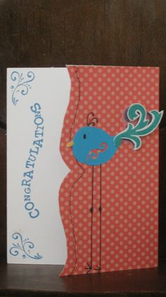 Blank card, Congratulations card, handmade, stamped.