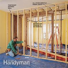Before you install the load bearing beam, cut an opening in the ceiling and build shoring walls.