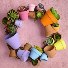 Clay pot wreath – colorful wreaths – spring wreath – clay pot crafts – wreath DIY – terra cotta pots – spring decor – succulents - All About Clay Crafts For Kids, Clay Pot Crafts, Diy Clay, Clay Pot Projects, Shell Crafts, Wreath Crafts, Diy Wreath, Diy Crafts, Wood Crafts