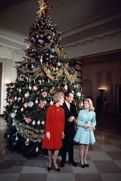 President Richard Nixon, First Lady Pat Nixon and Patricia Nixon in Front of the White House Christmas Tree