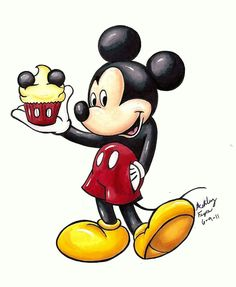 Disney Cupcakes Mickey by on DeviantArt Walt Disney, Disney Png, Retro Disney, Disney Clipart, Disney Magic, Disney Micky Maus, Disney Mouse, Mickey Mouse And Friends, Mickey Minnie Mouse