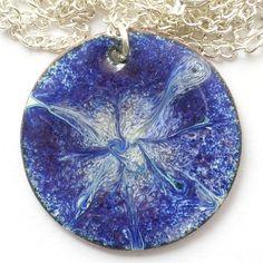 enamel pendant - scrolled white over dark blue £7.50