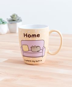 This cute yellow polka dot mug features Pusheen lounging at home on a comfy couch! See more at Pusheen Shop! Pusheen Shop, Pusheen Cute, Pusheen Stuff, Coffee Cups, Tea Cups, Pottery Painting Designs, Cute Kitchen, Cute Mugs, Kawaii Cute