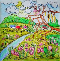 #ritaberman #adultcoloringbook #adultcolouring @rita.berman #meinfrühlingsspaziergang #romanticcountry #mountains #colourful #whimsical #garden #spring #colouring #fabercastellwatercolourpencils #lyracoloredpencils #softpastel #colourpencil #colourpencils #river #flower #staedtlerwatercolourpencils #hill #enchantedforest #bird #mycreativeescape#컬러링북 #cocot#大人の塗り絵#bayan_boyan#creativelycoloring@booktalk27