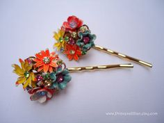 Vintage earrings hair bobbies  Spring enamel by PrincessJillian