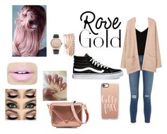 """rose gold"" by mathildepl07 ❤ liked on Polyvore featuring Jessica Carlyle, Alexander Wang, Frame, Raey, MANGO, Fiebiger, Casetify and Vans"