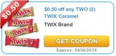 $0.50 off any TWO (2) TWIX Caramel