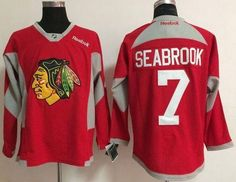 "$34.88 at ""MaryJersey""(maryjerseyelway@gmail.com) Blackhawks 7 Brent Seabrook Red Practice Stitched NHL Jersey"