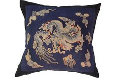 Embroidered Chinese Dragon Pillow