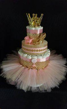 Royal Princess/wearable Tutu skirt/ It's a Girl/ Pink N Gold/tulle/ Gold crown /Diaper cake/stroller/bottle/jewel you choose 2 n 1 cake - Baby shower - Baby Tips Baby Girl Shower Themes, Baby Shower Princess, Baby Shower Parties, Baby Shower Gifts, Girl Baby Shower Cakes, Diaper Cake Centerpieces, Baby Shower Centerpieces, Princess Centerpieces, Royal Princess