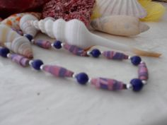 4006 Another Paper Bead Neclace rebuilt for you By Mewpcrafts the colors are Shades of lilac,Navy and Silver Beads to accentuate the color by Mewpcrafts on Etsy