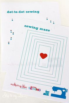 Printable sewing sheets for child sewing practice