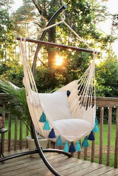 Turquoise Hammock Chair with Tassels- Boho style hammock swing chair - Indoor and Outdoor Hanging Chair - Macrame indoor hammock chair Indoor Hammock Chair, Backyard Hammock, Hammocks, Hammock Ideas, Hammock Chair With Stand, Outdoor Hammock, Hammock In Bedroom, Hanging Furniture, Yard Design