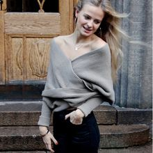Women Sexy Loose Crop Tops Jumper Deep V-neck Pullover Sweater Christmas Sweater Pullover Knitwear(China (Mainland))
