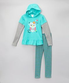 Look at this #zulilyfind! Teal Owl Tunic & Stripe Leggings - Toddler & Girls by Littoe Potatoes #zulilyfinds