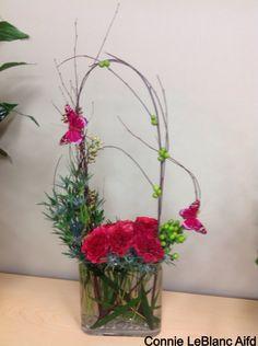 Garden Roses, Blue Thistle, Green Hypericum Berries, Seeded Eucalyptus , Birch Branches & Butterflies
