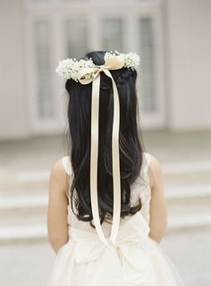 Babies breath and ribbon hair wreath for your little flower girl - wouldn't she feel like royalty?