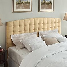 Full/Queen Size Tufted Microfiber Padded Headboard in Beige Finish, Bedroom Furniture, Button Tufted Design, Made from Wood, Upholstered Bed, Bundle with Expert Guide for Better Life Update your bedroom with the Padded Tufted Headboard. The tufted upholstered headboard is thickly padded with tufted details for style and comfort. It will make your evenings spent watching TV or reading more enjoyable. This Padded Tufted Headboard is upholstered with microfiber for a sophisticat