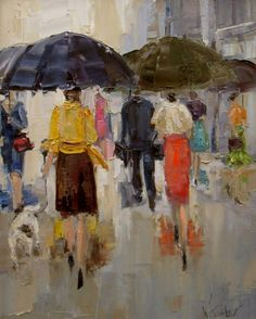 Art Lovers in the Rain   ... Trotter   American Impressionist Knife painter   Paris in the rain