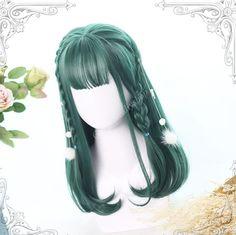 Dark Green Hair, Green Wig, Anime Wigs, Anime Hair, Afro Wigs, Curly Wigs, Cosplay Hair, Cosplay Wigs, Kawaii Hairstyles
