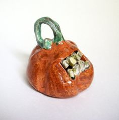 Ceramic Zombie Pumpkin  Pumpkin with Zombie Teeth by JMNPOTTERY, $15.00