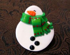 Snowman Pin with Purple Striped Scarf Handmade by JenniferSumner