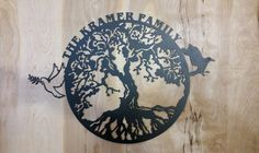 Tree of Life wall hanging cut from 14 gauge steel that can be customized with names and color.