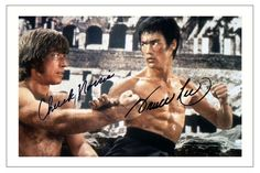 BRUCE LEE & CHUCK NORRIS WAY OF THE DRAGON AUTOGRAPH SIGNED PHOTO PRINT