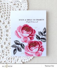 handmade greeting card from RejoicingCrafts . gorgeous roses stamped in reds and grays . luv the triple stamp flowers from Altenew! Altenew Cards, Vintage Roses, Flower Cards, Greeting Cards Handmade, Pink Roses, Making Ideas, Cardmaking, Christmas Cards, Christmas Greetings