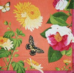 """Winterthur Garden Coral Luncheon Napkins by Caspari. $6.00. Package of 20 paper luncheon napkins by Caspari - Available with matching salad-desset plates. Winterthur Garden Coral - Winterthur Museum. Each luncheon napkin measures 6.5"""" square.. Printed in Germany.. 3-ply tissue printed with non-toxic, water-soluble dyes; biodegradable and compostable. Re-cycle after use.. Create a formal table setting for everyday or the Holidays. Paper plates and napkins from Casp..."""