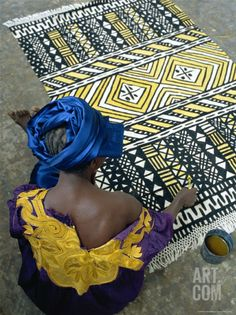Cotton Rug Making, Craft Workshop of Bogolan, Segou, Mali Photographic Print by Bruno Morandi at Art.co.uk