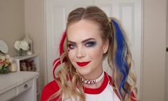 Harley Quinn Halloween Hairstyle  Harley Quinn; You want to create this style and also with the make up as well? Then just fallow the step by step instructions below. Harley Quinn Halloween Hairstyle Harley Quinn Halloween Tutorial Makeup Step By Step Instructions  1 / Step; You can begin with foundation. You can mix your two favorite foundation and use your sponge to apply it all over your face.  2 / Step; Then use concealer.  3 / Step; To set your concealer you c